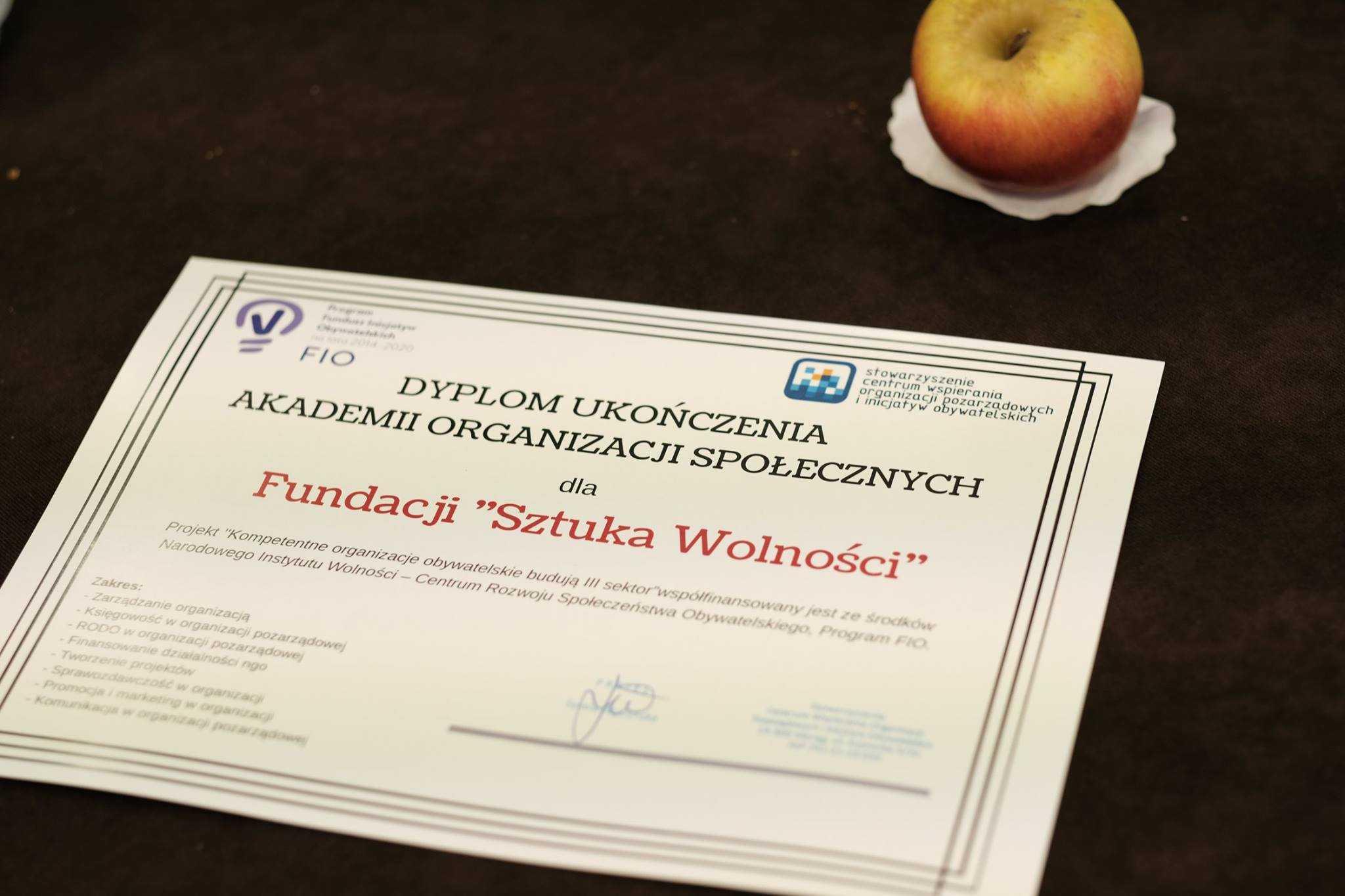 Fundacja Sztuka Wolności ukończyła Akademię Organizacji Społecznych